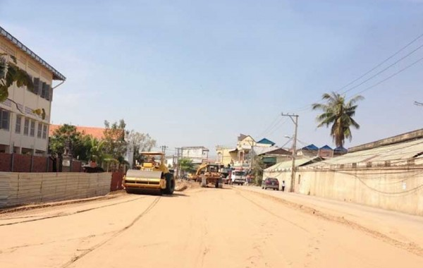 Road construction Hun Neang Boulevard 2