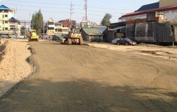 Road construction Hun Neang Boulevard 3